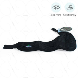 Wrist and Thumb Support for custom fit around hand. Control thumb movement, leaves fingers free. Worn in wrap-around style. Made from COOLPRENE, ideal for day long activity