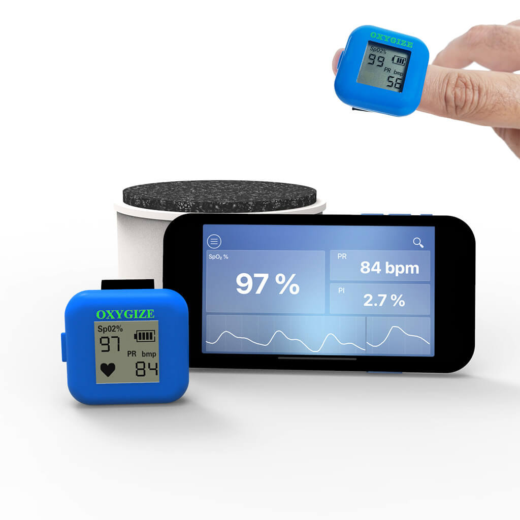 Ring Pulse Oximeter with Bluetooth App (rechargeable battery)