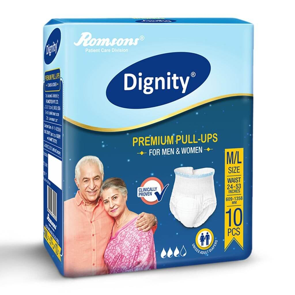 Dignity Pull up Diapers for old age individuals by Romsons India. M/L/XL variants | Order online at Heyzindagi.in