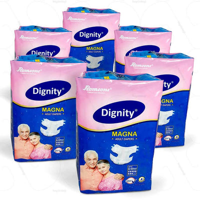 Dignity adult diapers by Romsons India. Comes in a pack of 6 with 10 diapers in every pack | heyzindagi.in- a health & wellness site for senior citizens