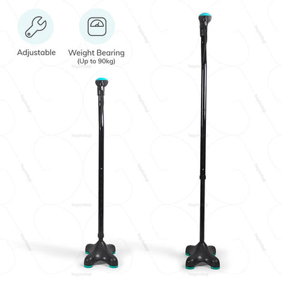 Height adjustable walking stick (L136UCZ) by Tynor India.  Can bear weight up to 90kgs | heyzindagi.com- a health & wellness site for differently abled