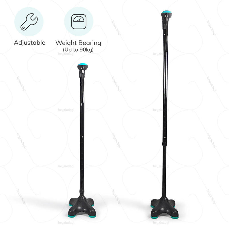 Quadripod Walking Stick (L136UCZ) with soft top handle by Tynor India | available at heyzindagi.in