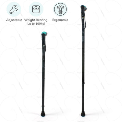 Adjustable walking stick (L07UCZ) by Tynor India. Weight bearing capacity up to 100kgs. Ergonomically designed for a comfortable hold | www.heyzindagi.com