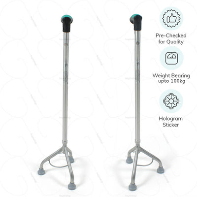 Tripod walking stick L32UDZ with weight bearing capacity of up-to 110 kgs. Pre-checked for quality by Tynor India | Heyzindagi.com- EMI option available