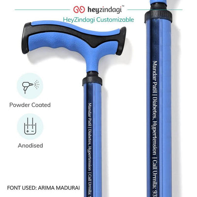 Aluminium walking stick (2909) by Vissco India- Powder coated & anodised for an enhanced durability | shop online from heyzindagi.com