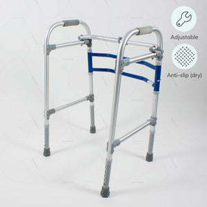 Height adjustable folding Walker for elderly (2901) by Vissco India. Anti-slip shoe to prevent falls over wet surface | Hey Zindagi Solutions- an online shop for differently abled