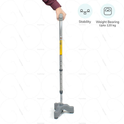 Walking stick (0907) for maximum stability by Vissco India. Weight bearing capacity upto 120 kg  | heyzindagi.com- a health & wellness site for differently abled