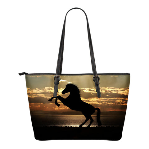 Leather Tote Bag Rearing Horse