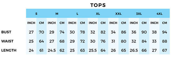 Tops Size Charts