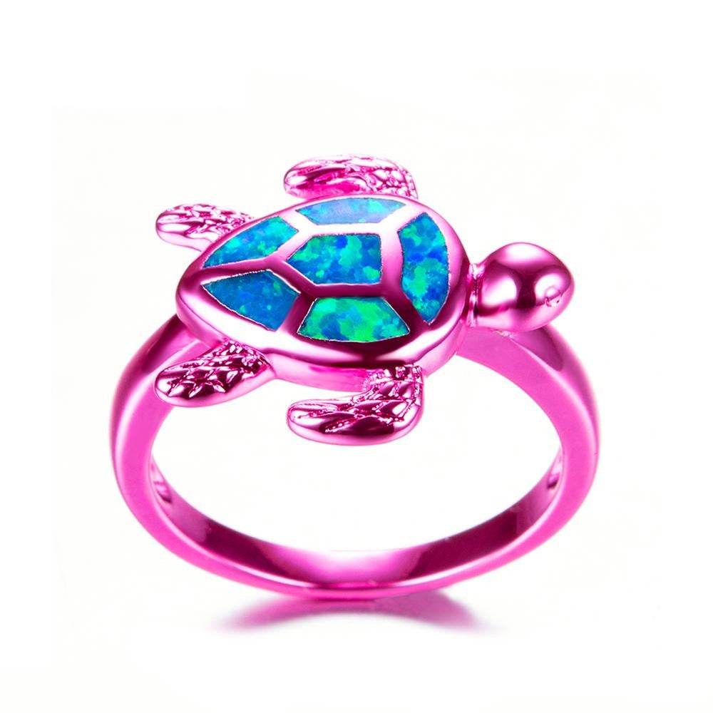 Sea Turtle Blue Fire Opal Ring - Blenfy Store