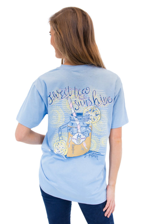 This is Sweet Tea and Sunshine on MG Palmer Sky Blue. This is a back shot with a glass of sweet tea and sweet tea and sunshine.