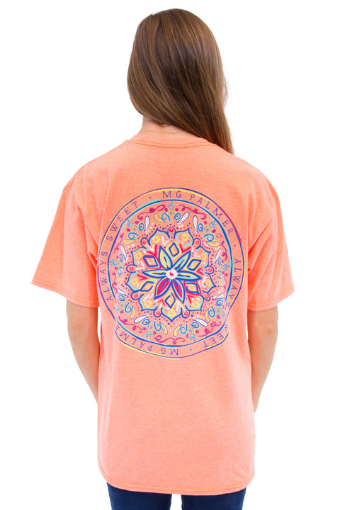 This is Change Your Scope on the MG Palmer Bright Coral. This is a back shot with a mandala with always sweet MG Palmer tagline.