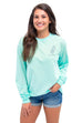 "MG Palmer ""Be-YOU-Tiful"" long sleeve tee in celadon. Picture is of the front of the shirt with a printed logo on the left chest."