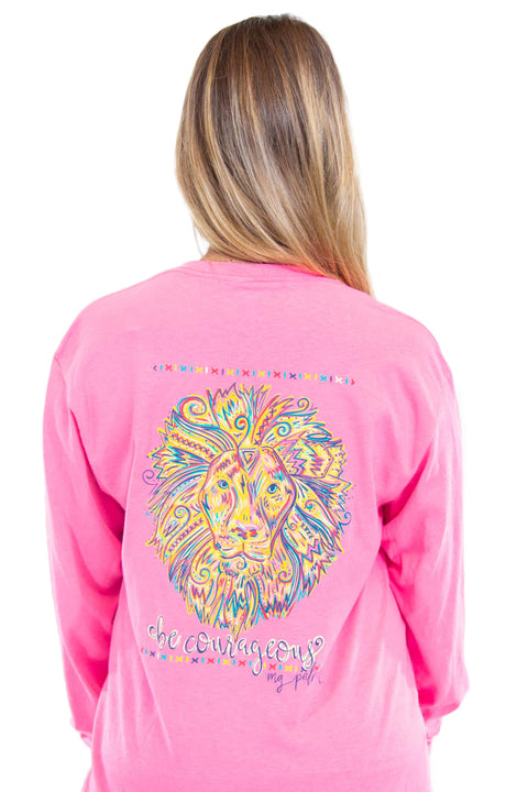 "MG Palmer ""Be Courageous"" long sleeve tee in Safety Pink. Picture is of the back of the shirt with a colorful lion head and the words ""Be Courageous."""