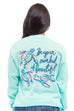 "MG Palmer ""Be-YOU-Tiful"" long sleeve tee in celadon. Picture is of the back of the shirt with the design. Design includes the text ""Be your own kind of beautiful"" and has three swimming turtles."
