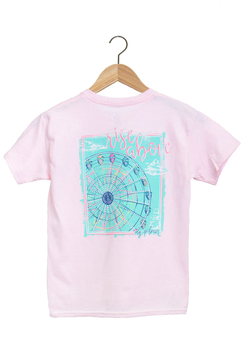 "Youth light pink shirt with ferris wheel and the words ""rise above."""