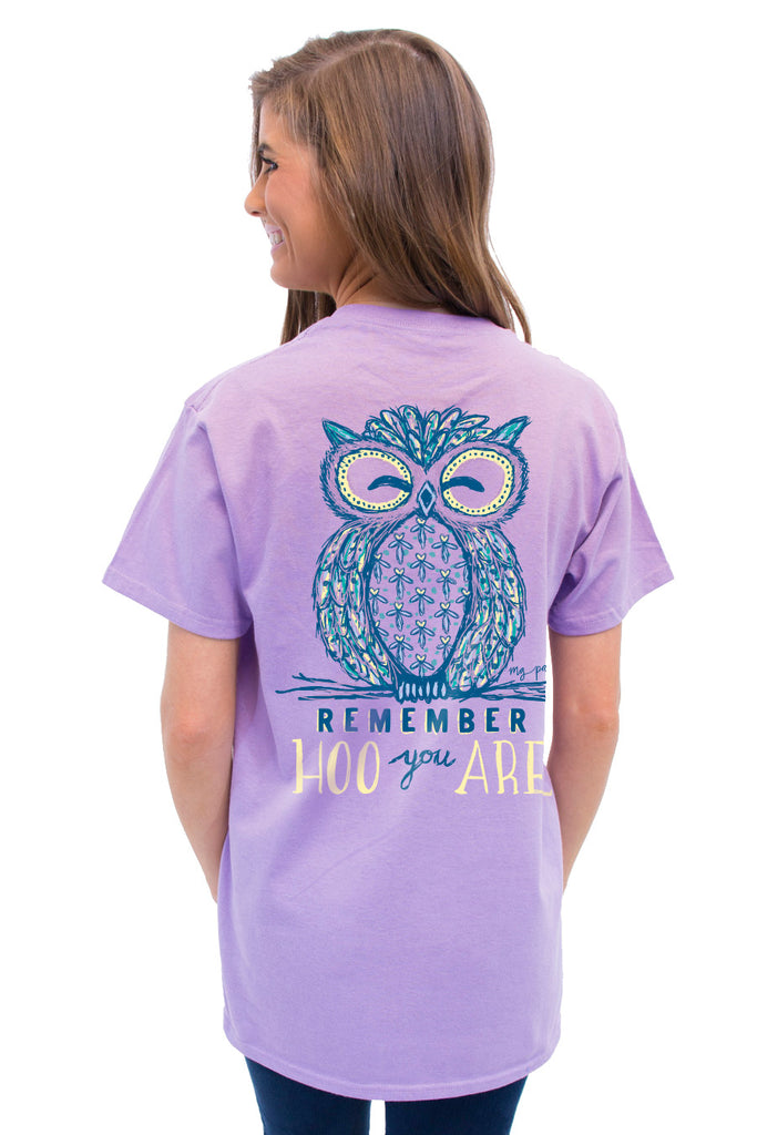 This is Hoo You Are on the MG Palmer Lavender. This is a back shot with an owl and remember hoo you are.