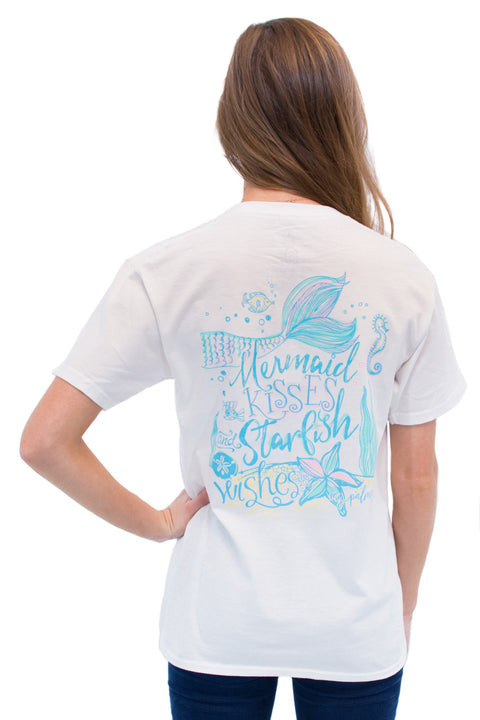 This is Mermaid Kisses on MG Palmer White. This is a back shot with a mermaid tail and mermaid kisses and starfish wishes.