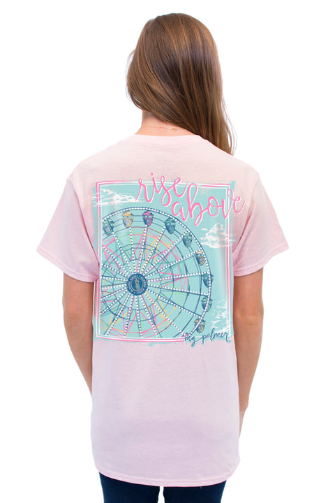 This is Rise Above on MG Palmer Soft Pink. This is a back shot with a ferris wheel and rise above.