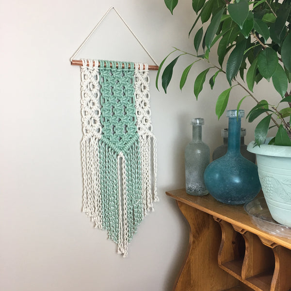 Lena / Mint Dyed Macrame Wall Hanging