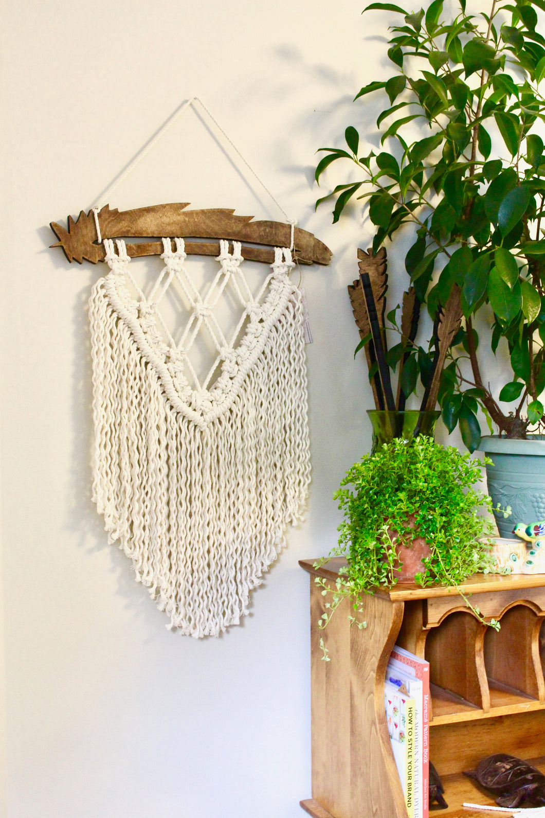 Heather / Boho Feather Macrame Wall Hanging