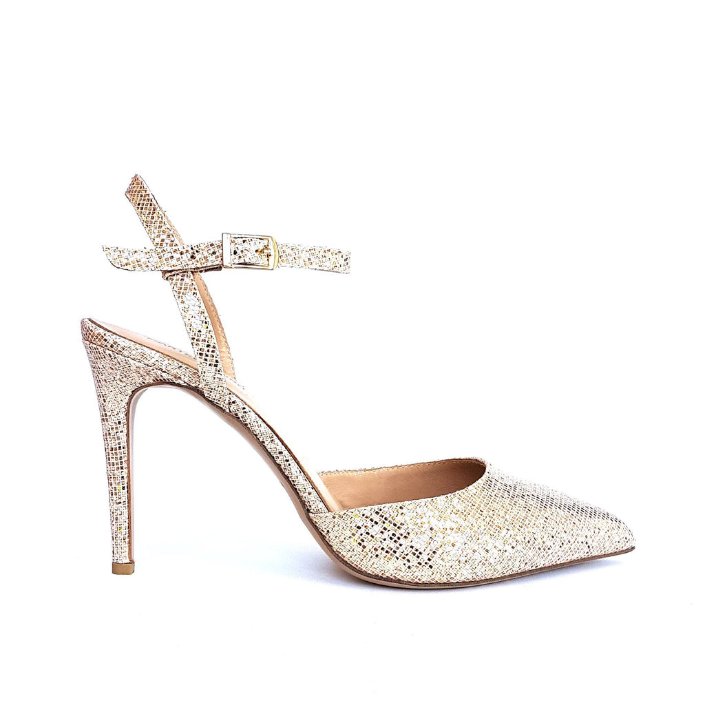 Rose gold glitter leather Pumps with a heel. Shop online or in our store in Nicosia, Cyprus