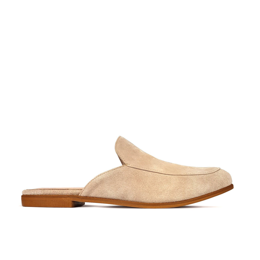 Nude suede leather flat mules. Shop online or in our store in Nicosia, Cyprus