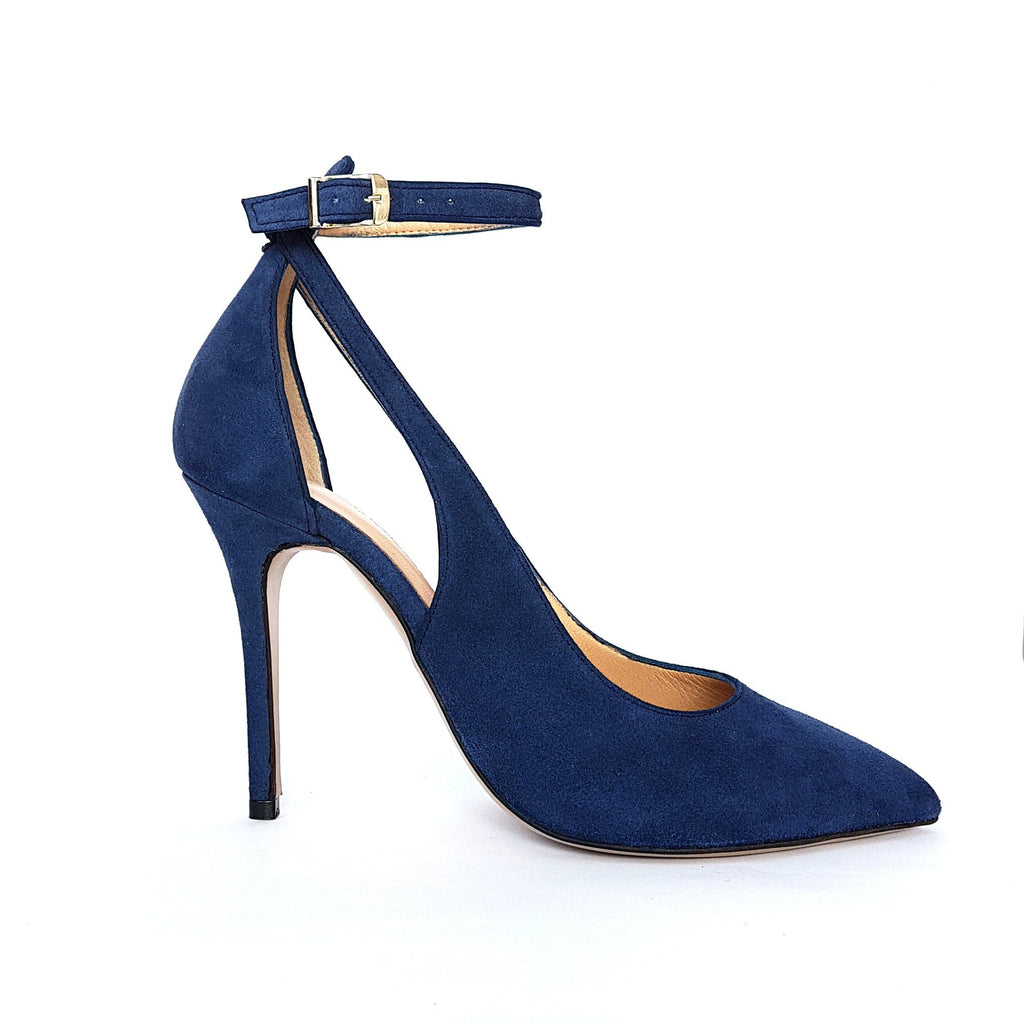 Blue leather Pumps with a heel. Shop online or in our store in Nicosia, Cyprus