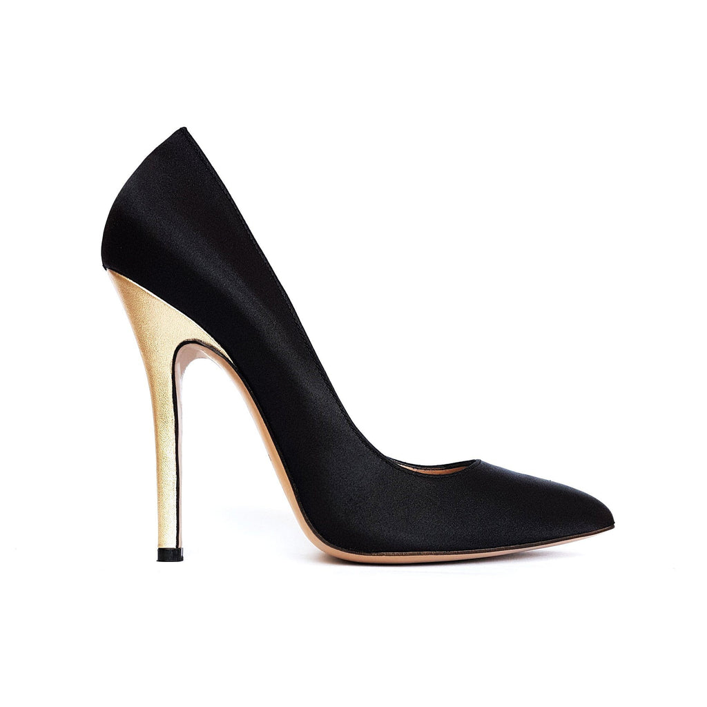 Black satin Pumps with gold heel. Shop online or in our store in Nicosia, Cyprus