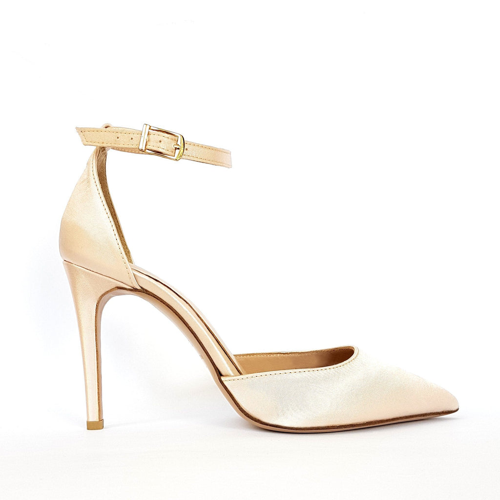 Nude satin Pumps with heel. Wedding shoes. Shop online or in our store in Nicosia, Cyprus