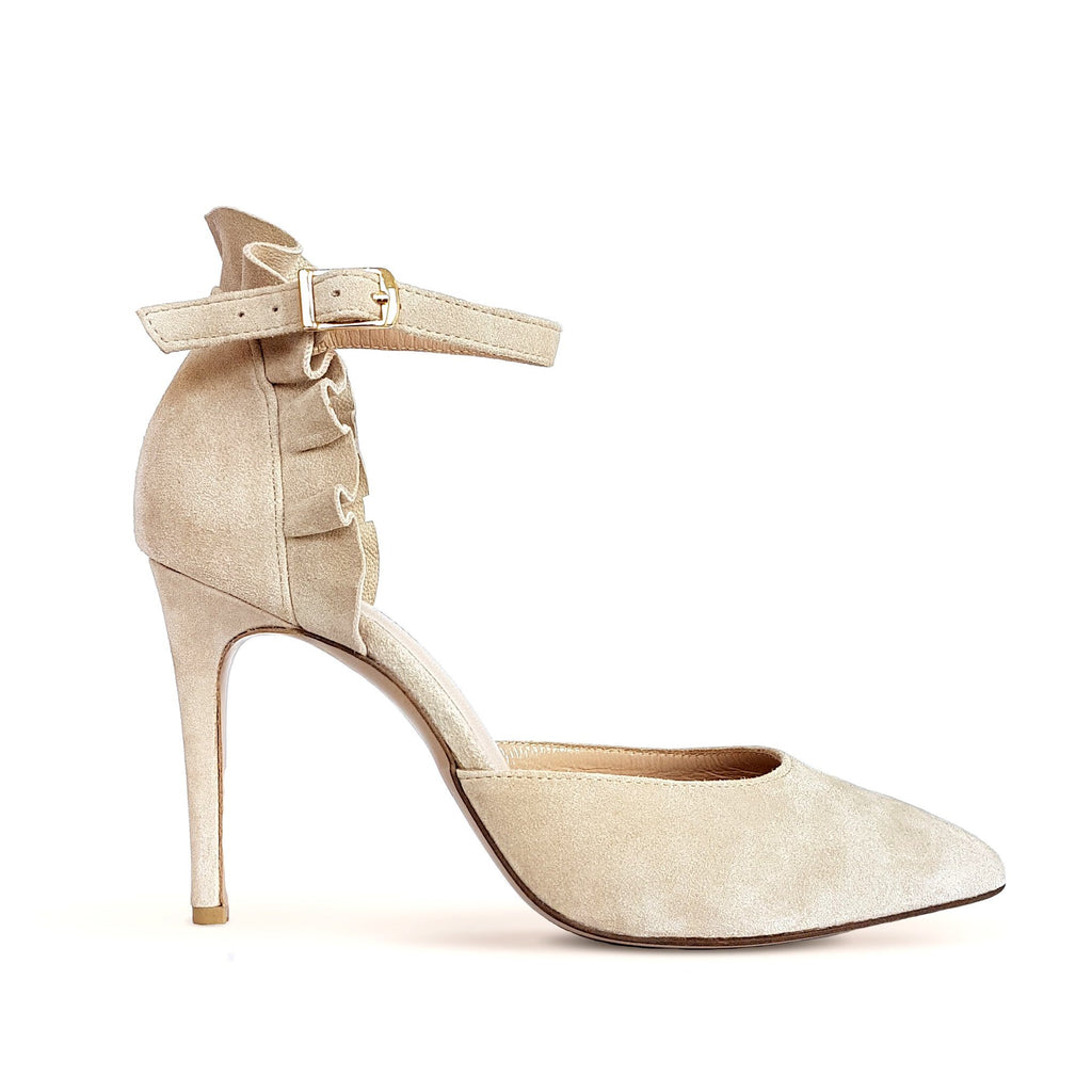 Nude suede Pumps with heel. Wedding shoes. Shop online or in our store in Nicosia, Cyprus