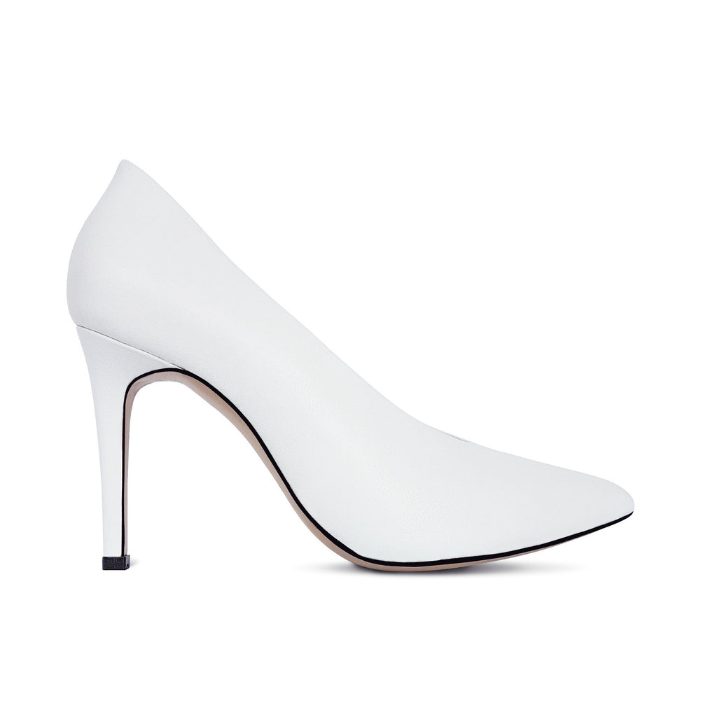 White leather Pumps with heel. Wedding shoes. Shop online or in our store in Nicosia, Cyprus