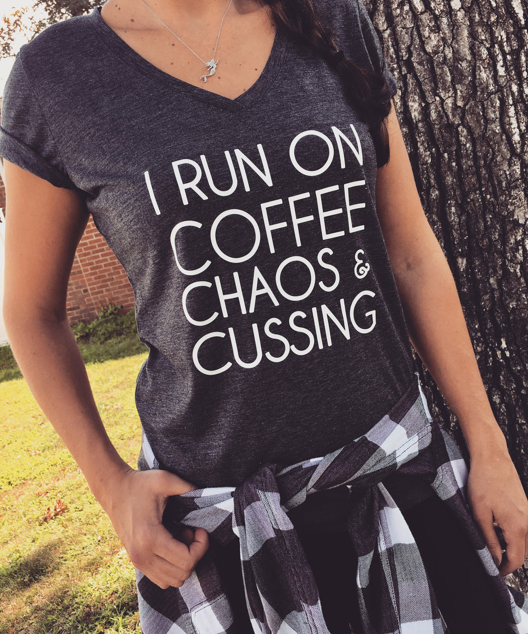 I Run On Coffee Chaos & Cussing V-Neck
