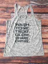 R + F Wash Tone Treat Glow Share Empire Racerback