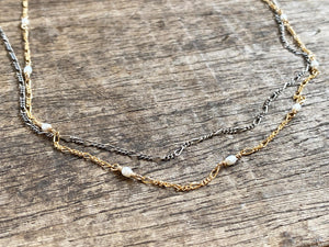 Hand-beaded Double Figaro Chain Necklace