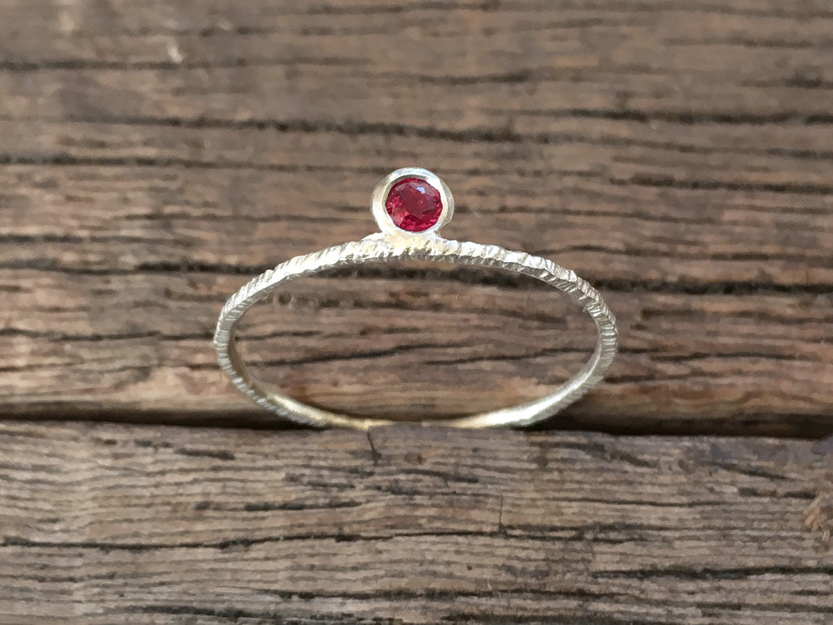 Hammered Ring with Ruby