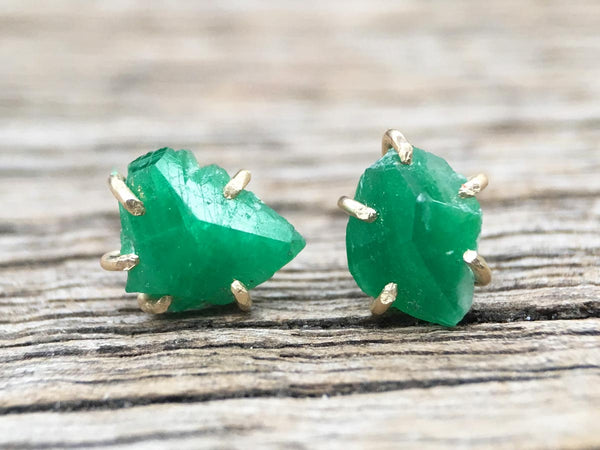 Pakistan Emerald Gold Studs