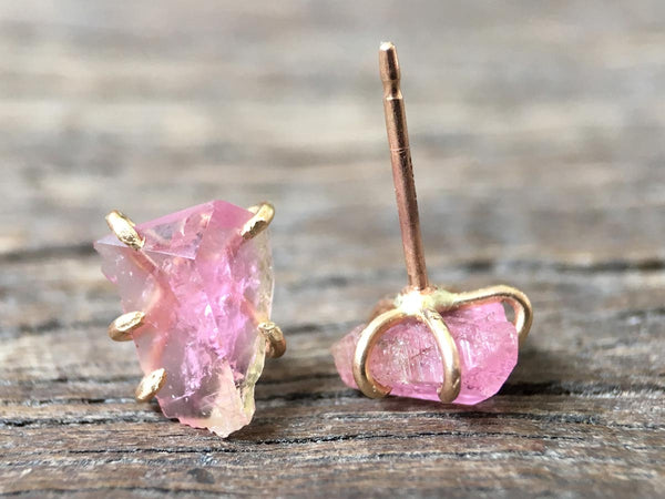 California Tourmaline Gold Studs