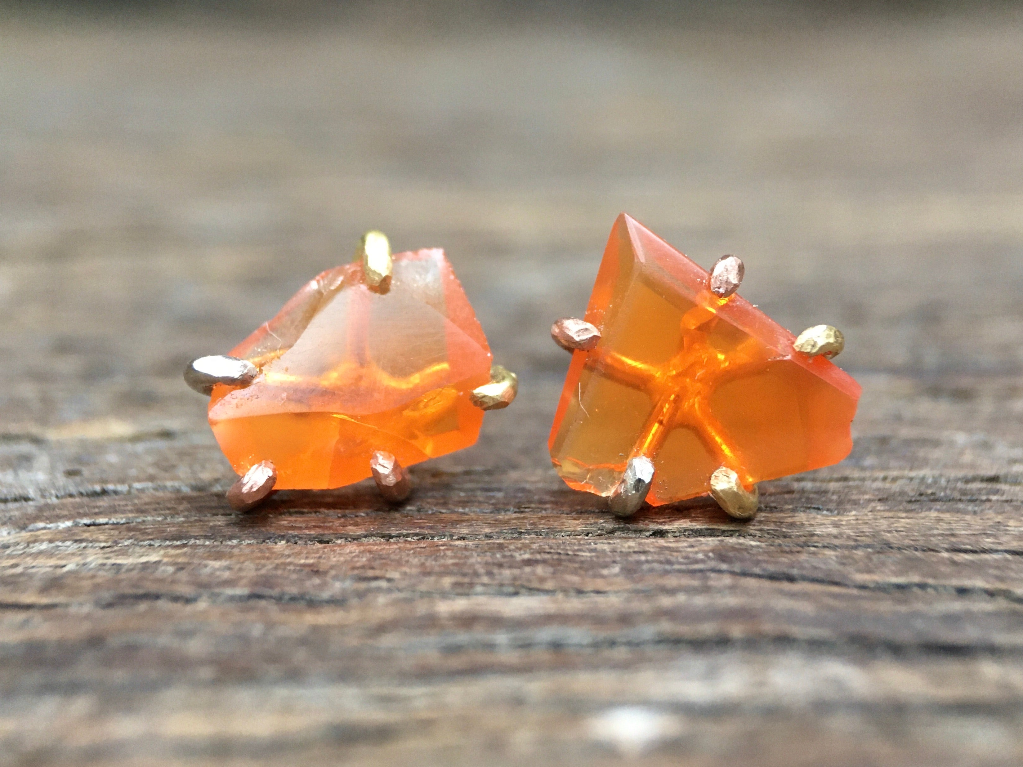 Mexican Fire Opal Gold Studs