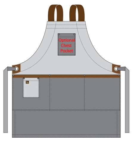 Zelkova fullbib technical drawing pocket