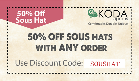 50 percent off sous chef hat with any order