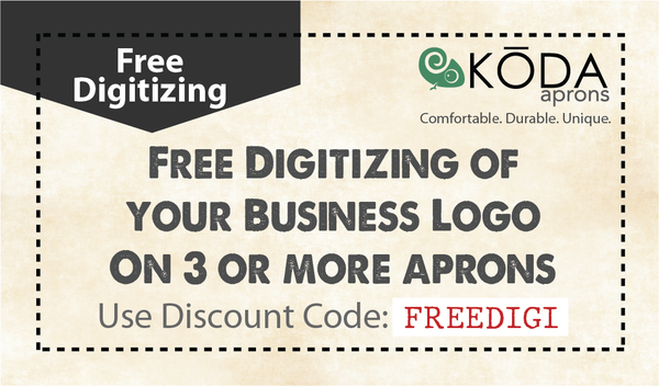 Free digitizing of business logos on 3+ aprons coupon