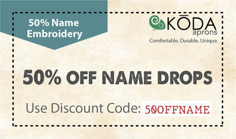 50 percent off on name drops coupon