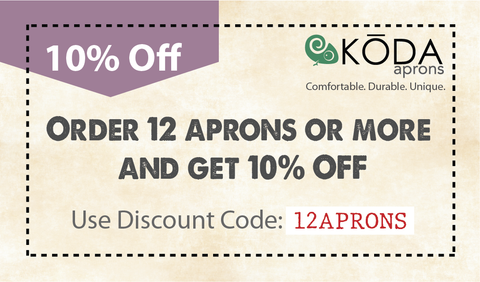 get 10 percent off when you order 12 or more aprons coupon