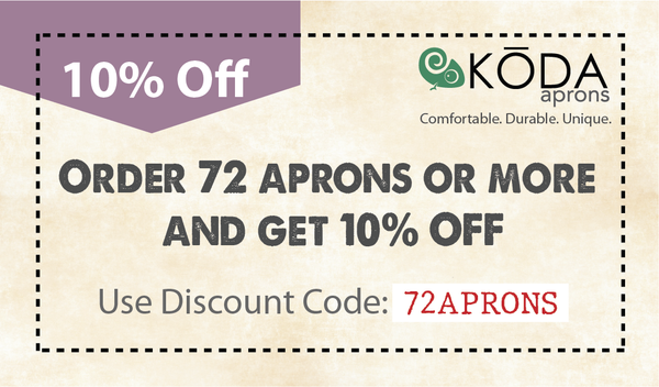 Order 72 aprons and get 10% off coupon