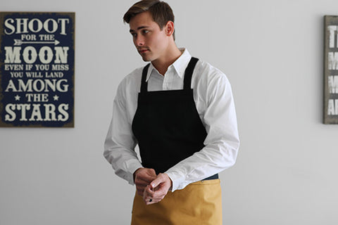 Koda Zelkova Full Bib Apron (Black and Gold)