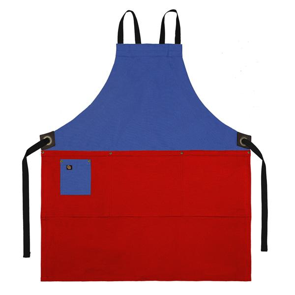 Koda Zelkova Full Bib Apron (Marine Blue and Red)
