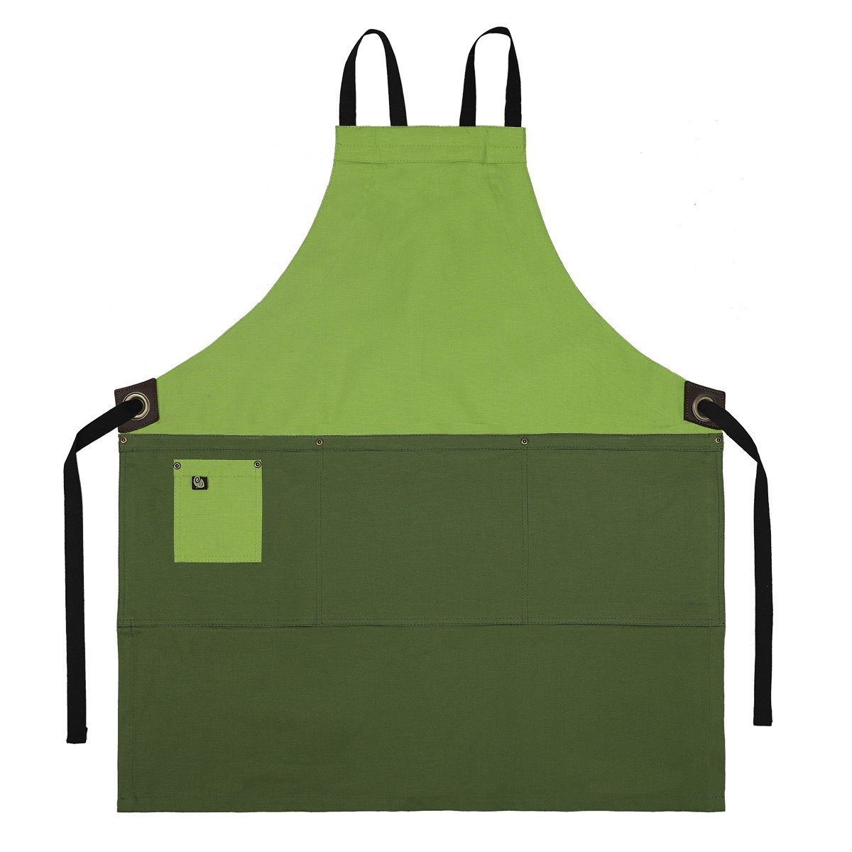 Koda Zelkova Full Bib Apron (Avocado and Fern)