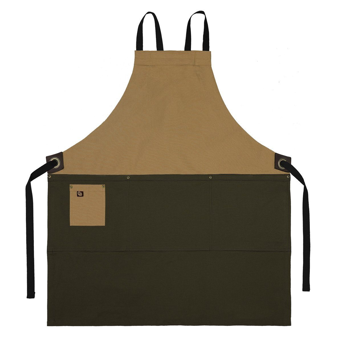Koda Zelkova Full Bib Apron (Caramel and Tobacco)