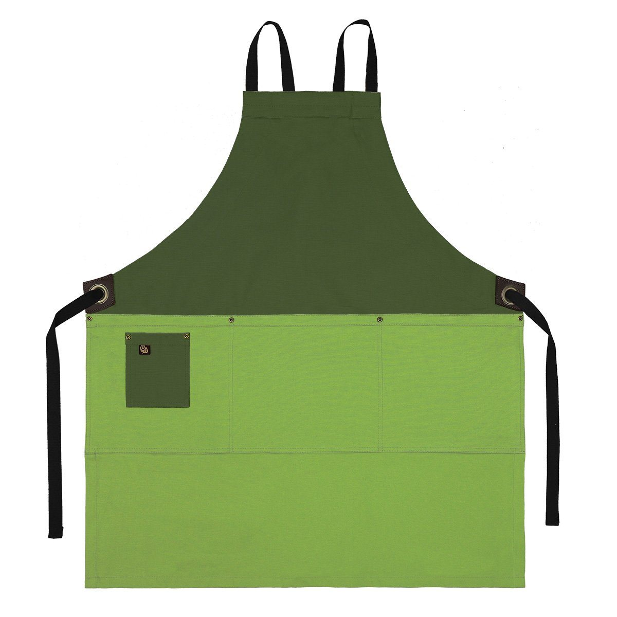 Koda Zelkova Full Bib Apron (Fern and Avocado)